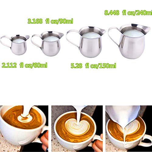 (2oz/60ml Frothing Pitcher Coffee Latte Stainless Steel Milk Cup Drum-shape Polished Jug Steaming Milk Cup)