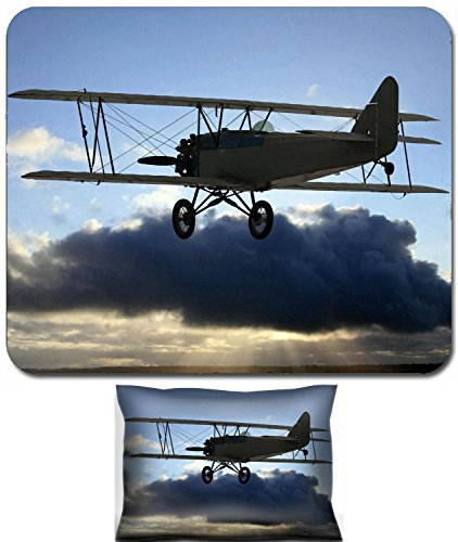 Liili Mouse Wrist Rest and Small Mousepad Set, 2pc Wrist Support Very early vintage biplane flying above the clouds Background of blue sky above with clouds in center photo covering up the sun