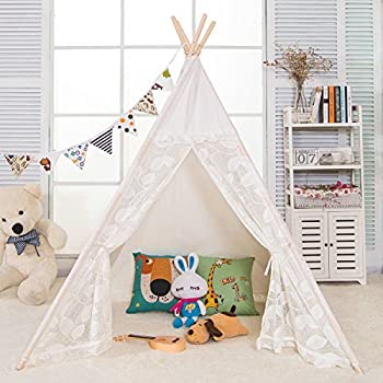 AniiKiss 6u0027 Giant Canvas Kids Play Lace Teepee Children Tipi Play Tent - Lace Door and Window  sc 1 st  Amazon.com & Amazon.com: Kids Teepee Children Play Tent with Mat u0026 Carry Case ...