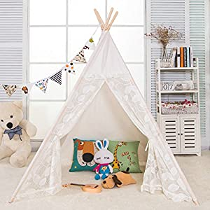 AniiKiss 6′ Giant Canvas Kids Play Lace Teepee Children Tipi Play Tent – Lace Door and Window
