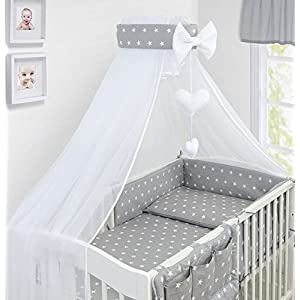 Baby Canopy Drape Mosquito NET with Holder to FIT COT & COT Bed (White Stars ON Grey)