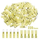 220pcs Heat Shrink Spade Connectors - Sibaok 12-10 Gauge Fully Insulated Female & Male Electrical Spade Terminals - Waterproof Quick Disconnect Crimp Connector Kit - Yellow