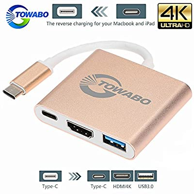 TOWABO USB 3.1 Type-C To HDMI Adapter 4K+USB 3.0+USB-C Charging Port(PD Qucik charging)adapter cable for New Macbook/ Chromebook Pixel/Dell XPS13/Yoga 900/Lumia 950XL/USB-C devices To HDTV / Projector from TOWABO