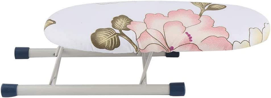 Akozon Mini Ironing Board Foldable Space-Saving Home Travel Sleeve Cuffs Collars Handling Ironing Table(Peony)