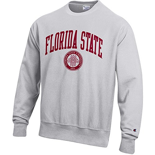 Elite Fan Shop Florida State Seminoles Reverse Weave Crewneck Sweatshirt Gray - L