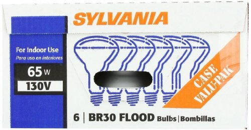 - Sylvania 15172 65-Watt 130-Volt BR30 Indoor Flood Light, 24 Pack