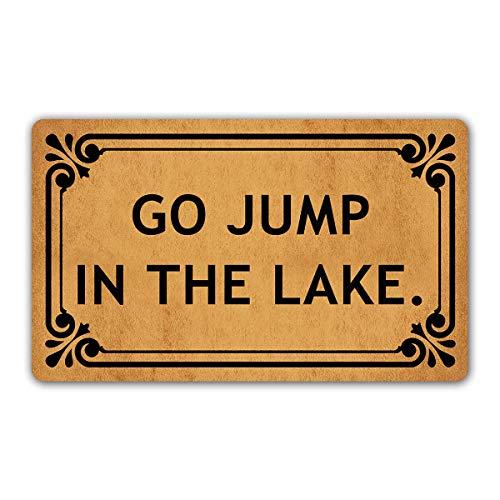 "DoubleJun Funny Doormat Go Jump in The Lake Entrance Mat Floor Rug Indoor/Outdoor/Front Door Mats Home Decor Machine Washable Rubber Non Slip Backing 29.5""(W) X 17.7""(L)"
