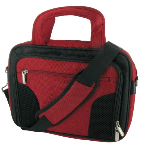 rooCASE Netbook Carrying Bag for Apple MacBook Air 11.6-inch Laptop MC505LL/A MC506LL/A - Deluxe Black/Red