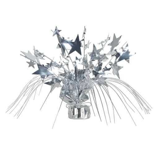 Beistle 1-Pack Star Gleam N Spray Centerpiece, 11-Inch, Silver