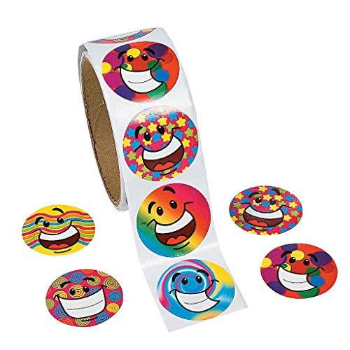 Aimeio 200 Counts Colorful Smile Face Heart Shape Roll Stickers Paper Labels Reward Stickers Idear for Students,Teachers,Kids,Party Favor,Multicolored Assorted Design,1.5''x1.5'' ()