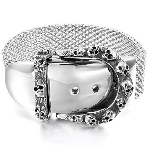 MunkiMix Acier Inoxydable Bracelet Bracelet Menotte Ton d'Argent Chevalier Fleur De Lis Crâne Réglable Homme