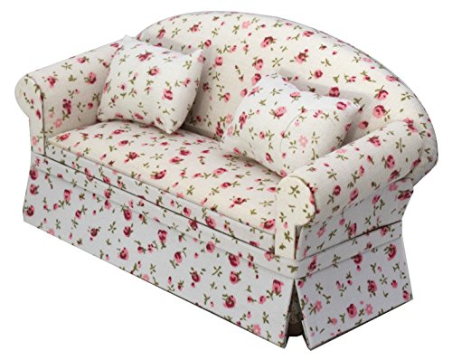 Inusitus Miniature Dollhouse Sofa - Dolls House Furniture Couch - 1/12 Scale (Flower Pattern)