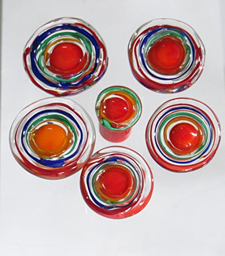 KNOBS - 5 Handmade Venetian Glass Cabinet Knobs for Furniture, Kitchen and Baths, Bright Happy Primary Colors and Crystal Clear Lampwork Glass. 1 Knob Free!