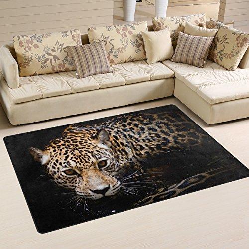 LORVIES Jaguar Portrait Area Rug Carpet Non-Slip Floor Mat Doormats for Living Room Bedroom 60 x 39 inches