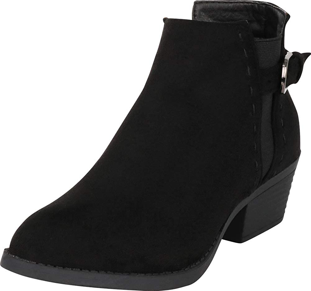 Black Imsu Cambridge Select Women's Side V Cutout Chelsea Stretch Low Stacked Heel Ankle Bootie