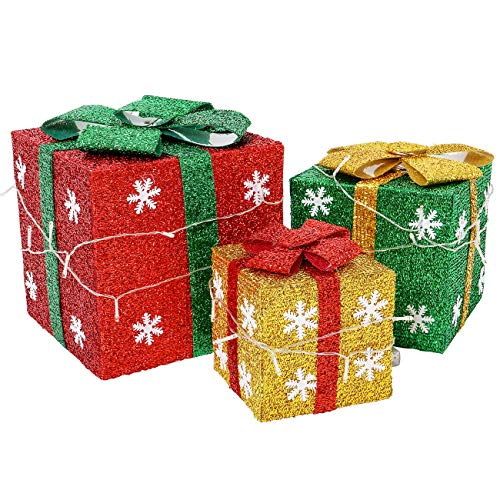 Sunnyglade Set of 3 Christmas Lighted Gift Boxes with Bows Present Boxes for Christmas, Weddings Yard Home Holiday Art Decorations (Red Green and Blue)
