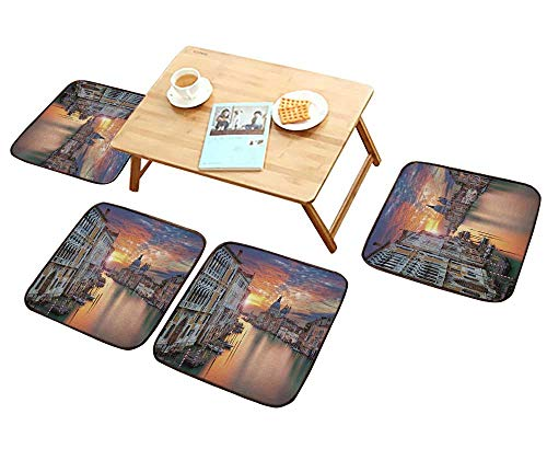 HuaWu-home Universal Chair Cushions European Cityscape Throw Image of Grand Canal in Venice Horizon EuropeanTown International Heritage Penang Malaysia Personalized Durable W15.5 x L15.5/4PCS Set ()