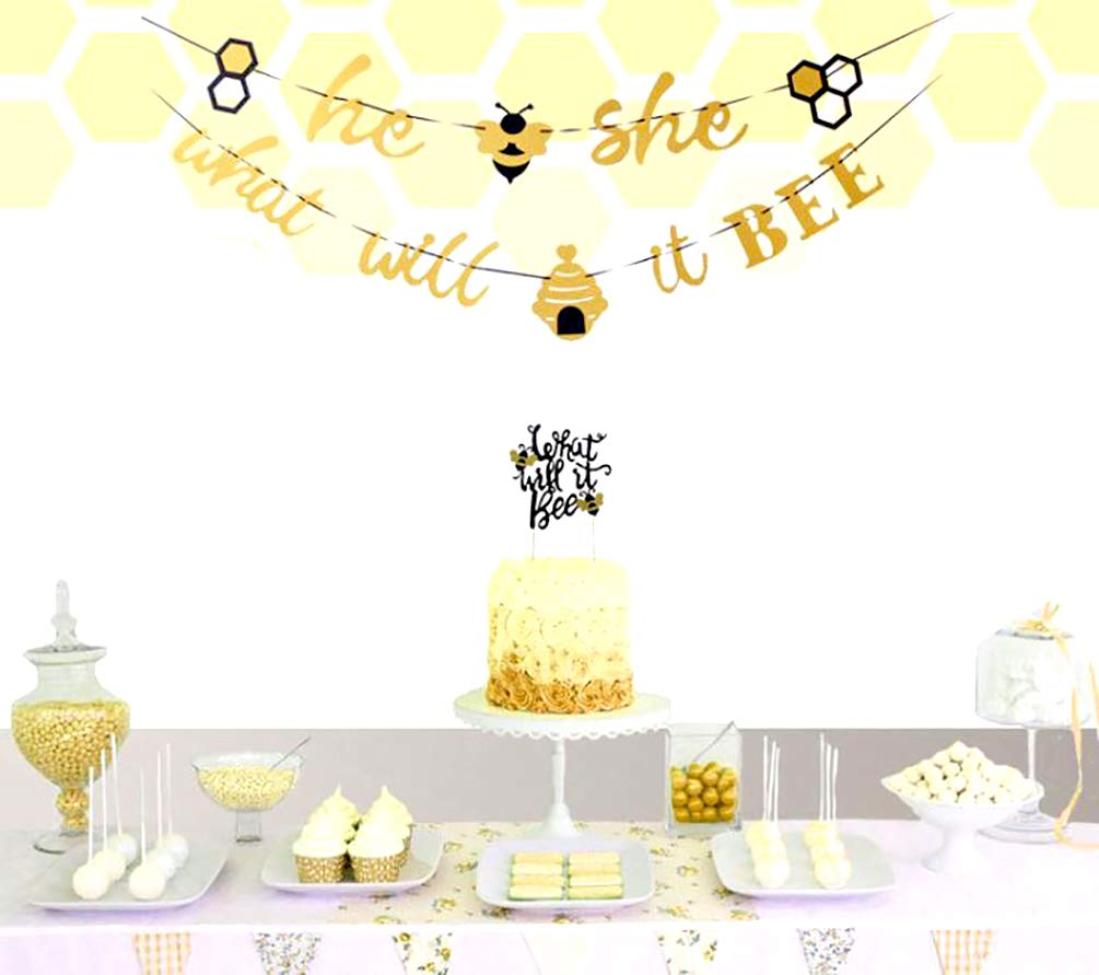 for Gender Reveal Party Decorations Sweet Bee He She What Will It Bee Gender Reveal Party Banner /& Cake Topper What Will It Bee