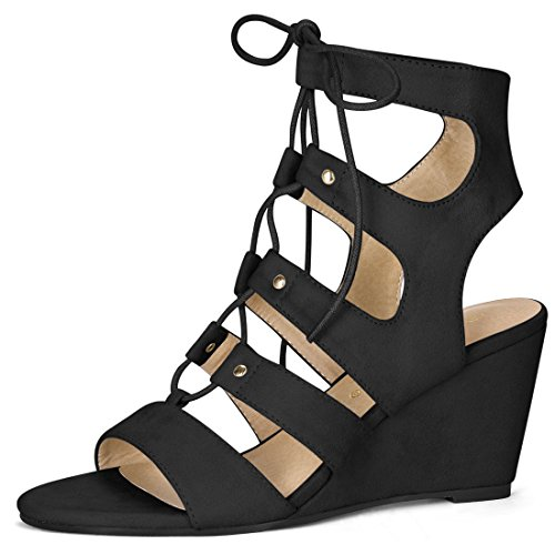 - Allegra K Women's Open Toe Cutout Wedge Heel Lace-up Sandals (Size US 9.5) Black