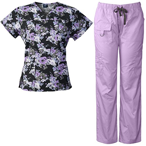 Medgear Women's Scrubs Set Multi-Pocket Top & Pants, Medical Uniform MBLK (L, - Scrub Cute