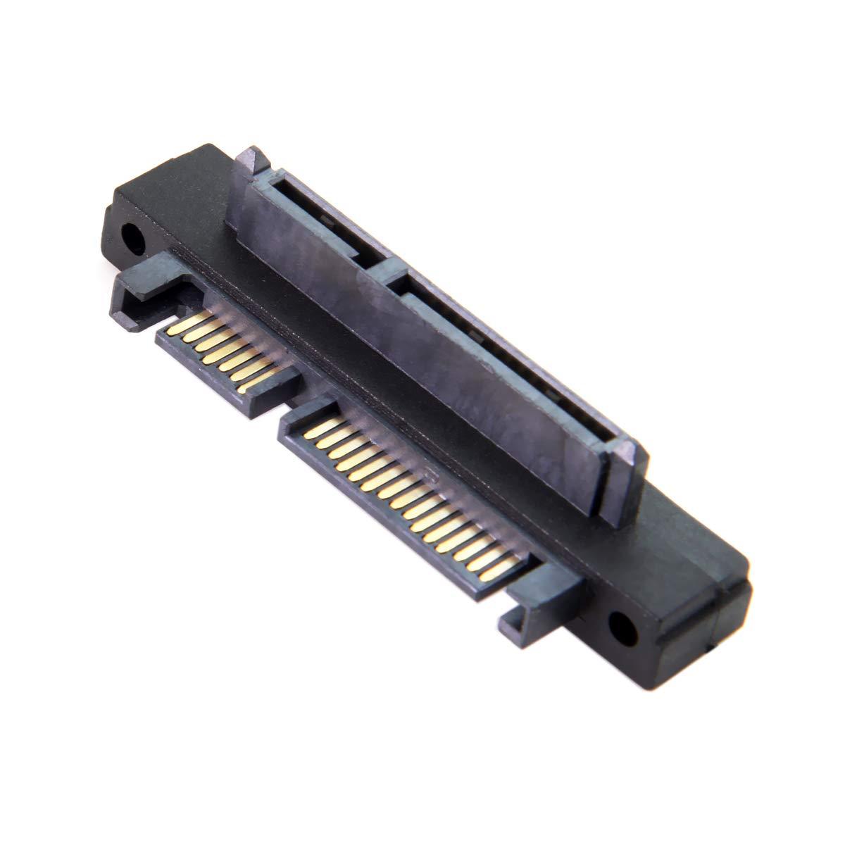 Adaptador convertidor de extensi/ón de 90 Grados en /ángulo SATA de 22 Pines 7 15 Macho a SATA de 22 Pines Hembra