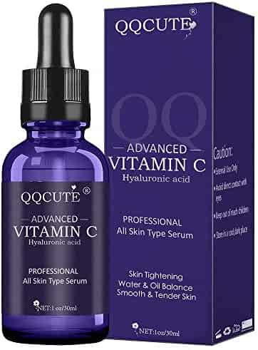 QQcute 30% Vitamin C Serum with Hyaluronic Acid, Organic Anti-aging Moisturizing Skin Care for Face and Neck with Natural Ingredients Eye & Facial Treatment Serum(1 fl. oz)