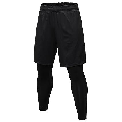 c9f475d5247 SEVENWELL Men Black Fake 2pcs Professional Sportswear Running Tights Pants  Black S US XS