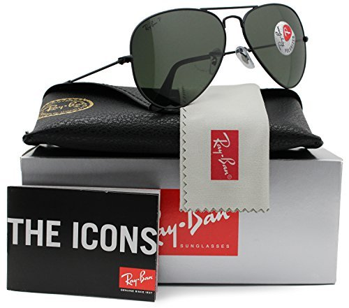 Ray-Ban RB3025 Aviator Sunglasses Shiny Black w/Crystal Green (L2823) 3025 L2823 58mm - Rb3025 Ban L2823 Ray Aviator