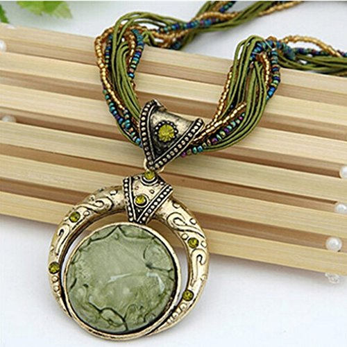 Rurah New Bohemian Ethnic Customs Delicate Swater Chain Necklaces New for Women Jewelry Wedding,Green