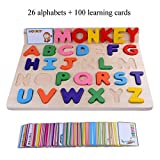 26 Alphabets Home Preschool Early Educational Development Colorful Wooden Puzzles, Birthday Gift Toy for Child Kids Toddlers Baby Boys Girls (Children's Language Learning Aids)