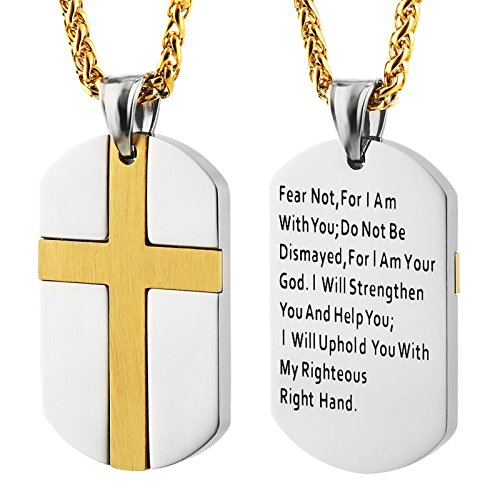 HZMAN Isaiah 41:10 Jewelry, Stainless Steel cross Dog Tag Necklace STRENGTH Bible Verse (Gold Dog Tag Necklace)