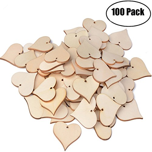 ASTUBIA Blank Wooden Love Heart Tags Wood Name Tags Blessing Gift Tags Slices with Hole Art Craft for Christmas, Birthday Party, Wedding Decoration(47mm,100pcs)