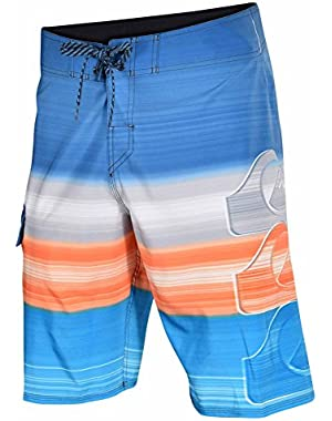 Mens Hilo 4 Way Stretch Board Shorts-Blue/Orange