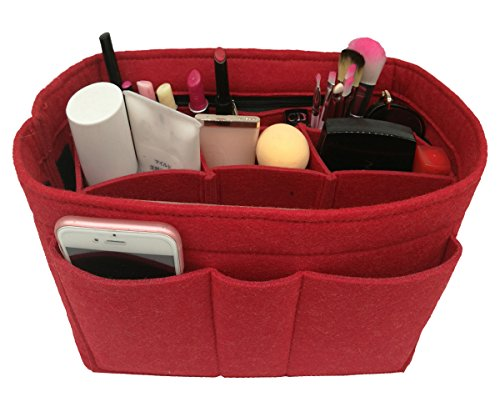 Felt Insert Fabric Purse Organizer Bag, Bag Insert In Bag with Zipper Inner Pocket Red M by LEXSION (Image #3)
