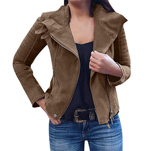 (JESPER Womens Retro Rivet Asymmetrical Zip-up Bomber Jacket Casual Coats Short Outwear Khaki)