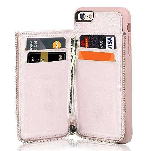 iPhone 7 Wallet Case / iPhone 8 Case Wallet - LAMEEKU Leather Credit Card Slot Holder Cover with Zipper Wallet, Protective for Apple iPhone 7 (2016) / iphone 8 (2017) 4.7 inch - Rose Gold (Holder Purse Wallet)