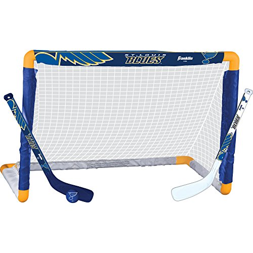 (Franklin Sports St. Louis Blues Mini Hockey Knee Hockey Goal, Ball & 2 Stick Combo Set - 28