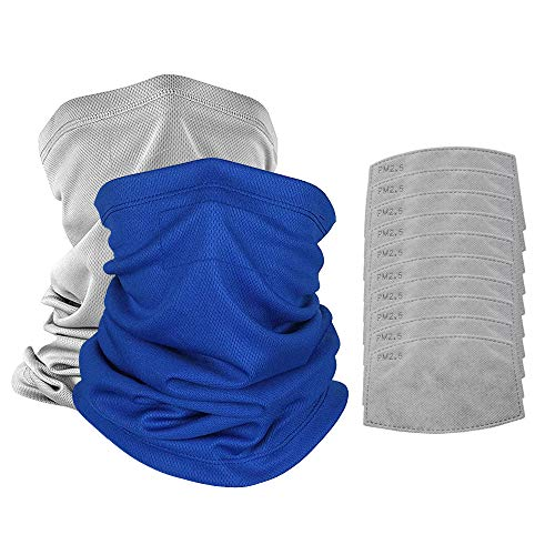 Scarf Bandanas Mask with 10 PM 2.5 Filters,Neck Gaiter Sun UV Protection, Unisex Face Scarf,Sports&Outdoors (Blue1+Grey1+10 PM2.5 Filters)