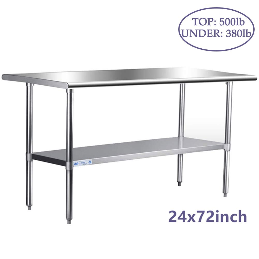Stainless Steel Table for Prep & Work 24 x 72 Inches, NSF Commercial Heavy Duty Table with Undershelf and Galvanized Legs for Restaurant, Home and Hotel