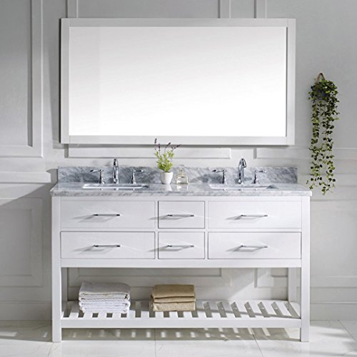 Virtu USA MD-2260-WMSQ-WH-010 Transitional 60-Inch Double Sink Bathroom Vanity Set with Full Length Mirror, White