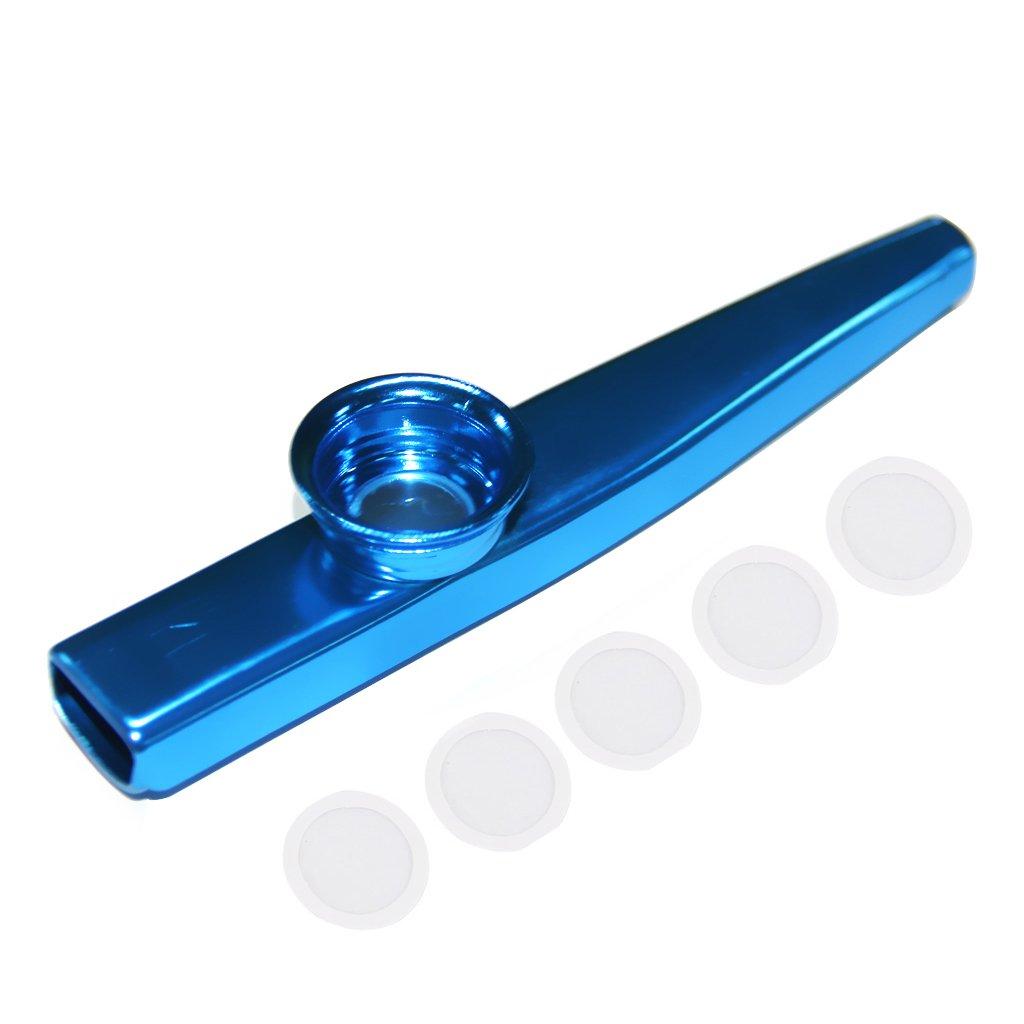 MonkeyJack Aluminium Alloy Kazoo Harmonica Mouth Flute Kids Party Xmas Gift Musical Instrument - Blue