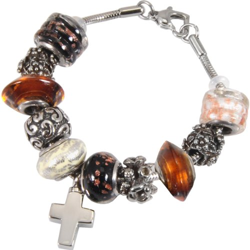 Memorial Gallery Autumn Gold Remembrance Bead Pet Cross Urn Charm Bracelet, 9'' by Memorial Gallery