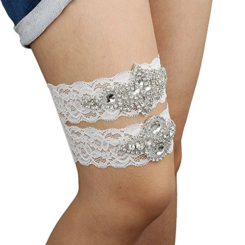 ROSENICE Wedding Garter Toss Prom Garters with Crystal Rhinestones Flower Lace – Size M