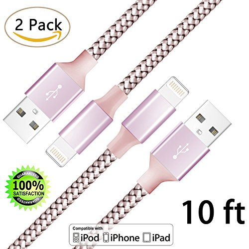 iPhone Cable,Lightning to USB Cable 2Pack 10FT Nylon Braided Cord to USB Charging Charger for iPhone 7/7 Plus/6S/6S Plus,SE/5S/5,iPad,iPod Nano 7 (Rose (Serial Us Power Cord)