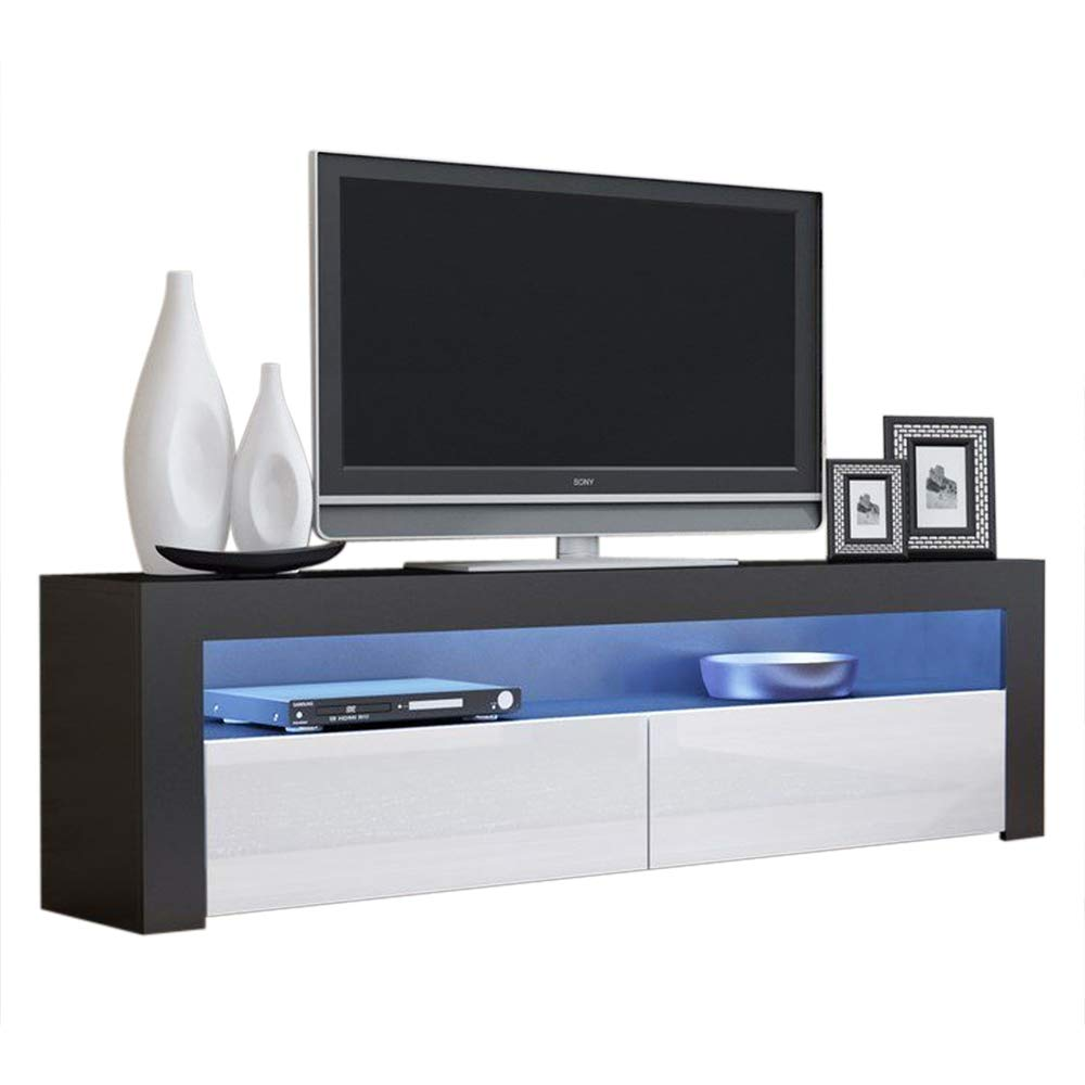 MEBLE FURNITURE & RUGS Milano Classic Modern TV Stand 63'' Width (Black/White) by MEBLE FURNITURE & RUGS