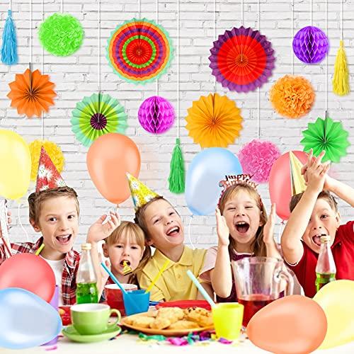 Koogel 27 STK. Seidenpapier Blumen Pompoms Set, 8 Papierblumen 2 Wabenbälle 6 Fächer 3 Quaste Girlande 8 Ballons für Party Hochzeit Geburtstag Festival Zeromonie Fasching Deko