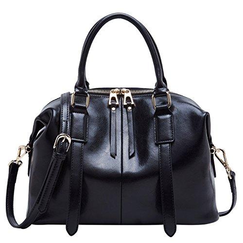 Genuine Leather Purse and Handbags for Women Top Handle Satchel Shoulder Bag (Black)