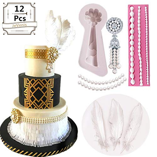 JeVenis Roaring 20's Fondant Mold 1920s Gatsby Themed Cake Decoration 1920s Art Deco Cupcake Cake Topper Chocolate Candy Soap Cake Baking for 1920s Gatsby Themed Party Wedding ()