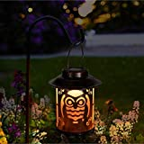 Solar Lantern Lights Outdoor - Waterproof Metal Owl