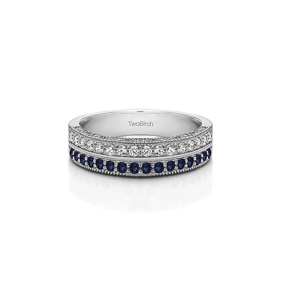 Silver Anniversary Ring Diamonds (G H,I2 I3) and Sapphire(0.48Ct) Size 3 To 15 in 1/4 Size Intervals